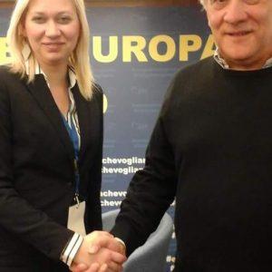 Silvia Busacca con Antonio Tajani